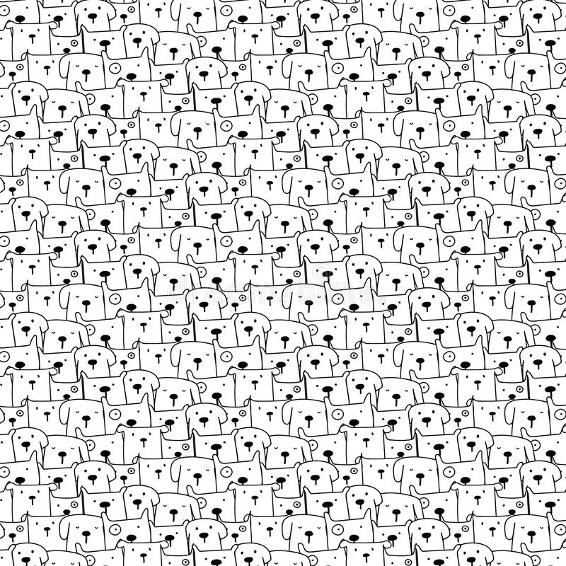 Hand Drawn Cute Dogs Vector Pattern Background. Doodle Funny. royalty free illustration