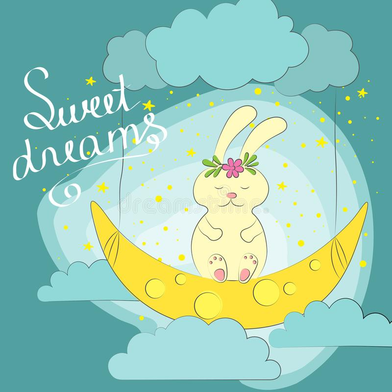 Hand drawn cute dreaming bunny on the moon. royalty free illustration