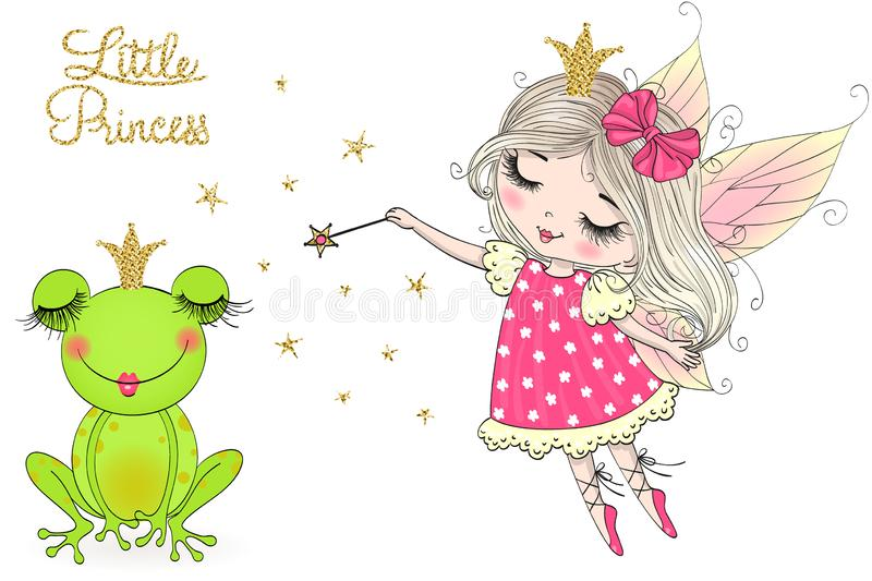Hand drawn cute, dreaming little princess frog, with crown. Hand drawn cute, dreaming little princess frog, with crown and fairy. Vector illustration. kiss me stock illustration