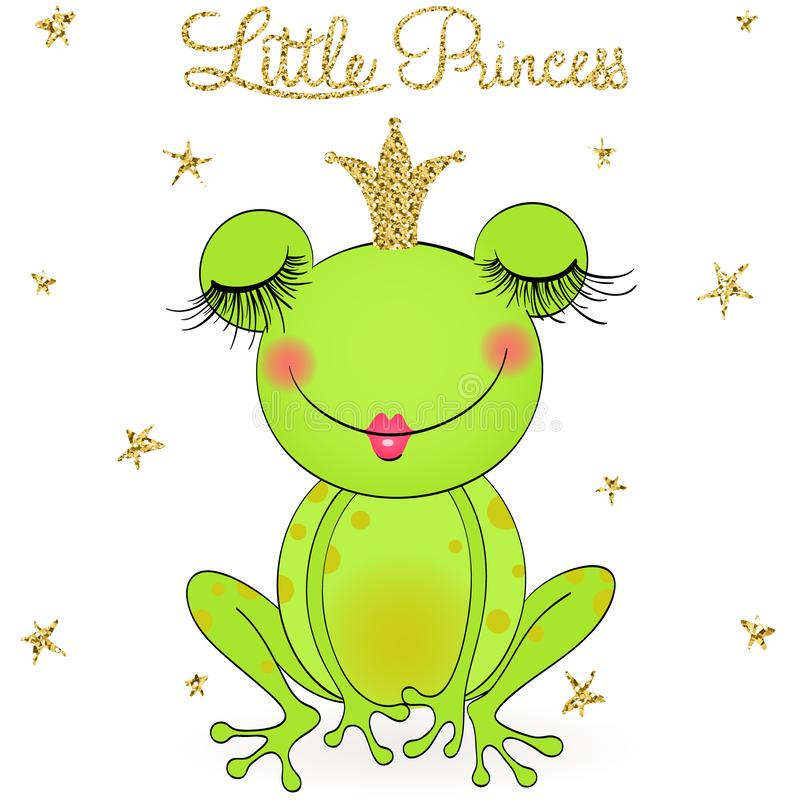 Hand drawn cute, dreaming little princess frog, with crown. Vector illustration royalty free illustration