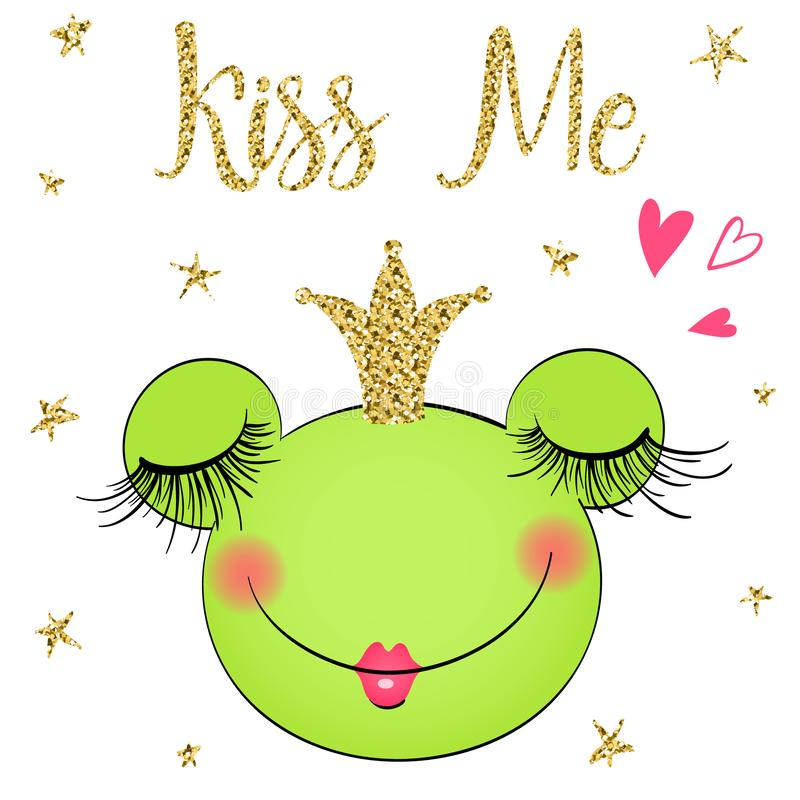 Hand drawn cute, dreaming little princess frog, with crown. Vector illustration. kiss me royalty free illustration