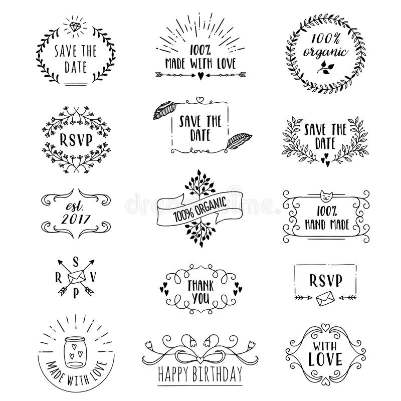 Floral logo templates. Hand drawn cute floral logo templates with various text vector illustration