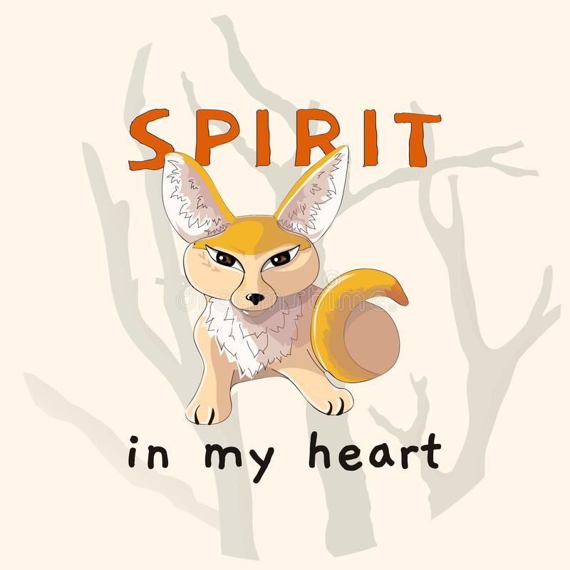 Hand drawn cute fox fennec illustration for t shirt printing. Spirit in my heart. Poster Illustration, post card design. Vector EPS10 vector illustration