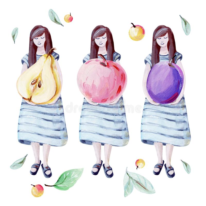 Hand-drawn cute girl and big yellow pear, red apple and violet plum royalty free illustration