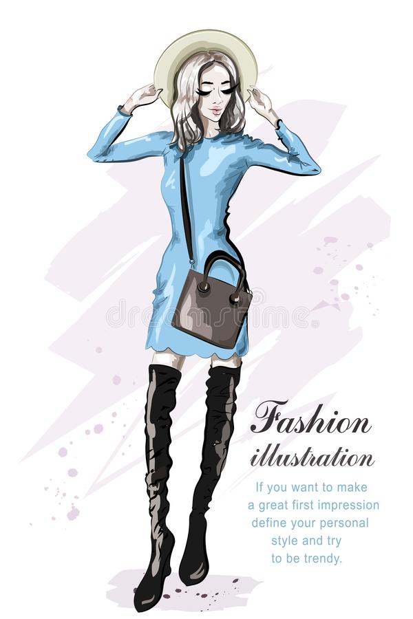 Hand drawn cute girl in hat. Stylish beautiful young woman in dress. Fashion model. Sketch. Vector illustration royalty free illustration