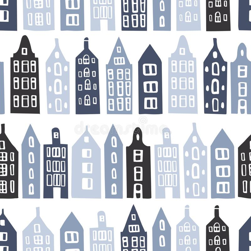 Vector seamless pattern with houses. Hand drawn cute blue houses on white background. Vector seamless pattern royalty free illustration
