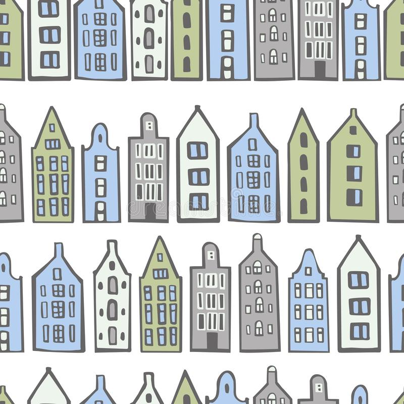 Hand drawn cute  houses.  Vector  seamless pattern. Hand drawn cute  houses on white background.  Vector  seamless pattern stock illustration
