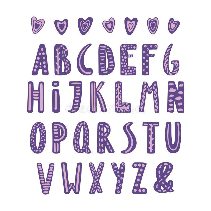 Cute latin alphabet stock illustration