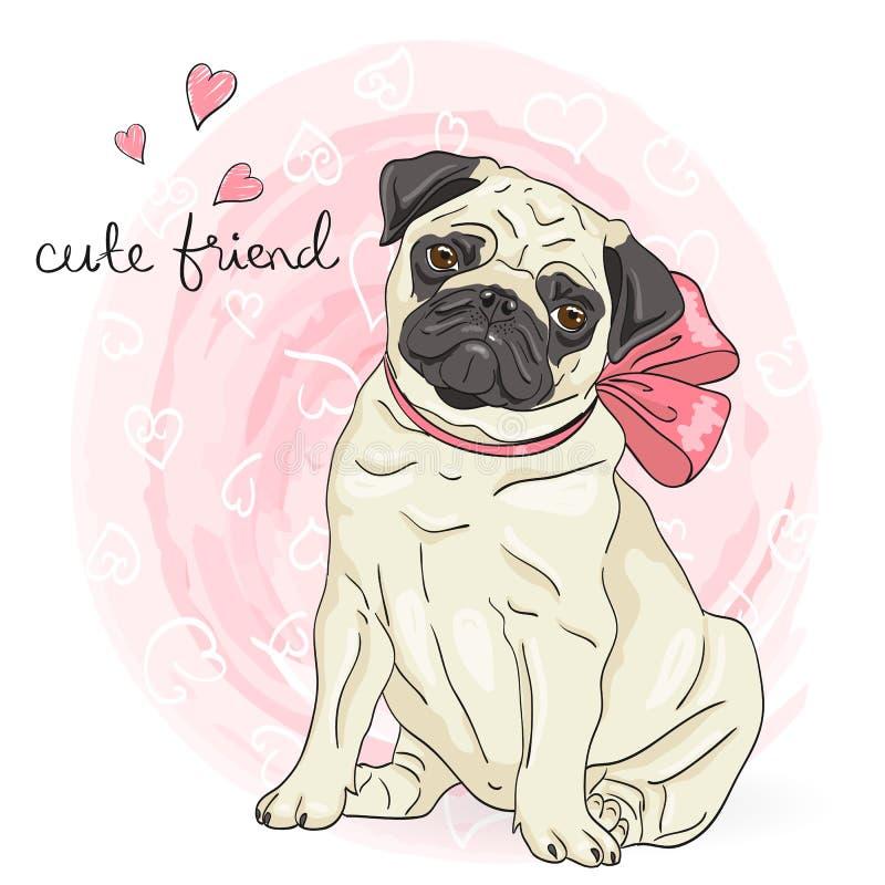 Hand drawn cute, little cartoon dog pug. stock illustration
