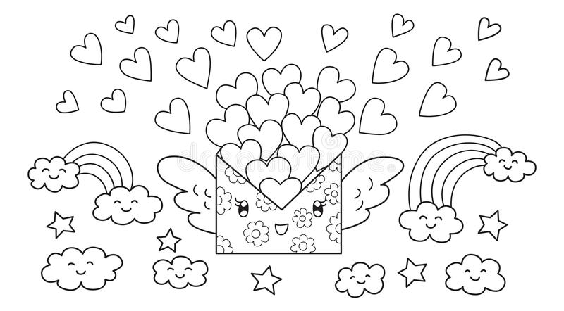 Hand drawn cute mail letter carrying lots of loves flying, design for design element and coloring book page for kids and adult.Vec vector illustration