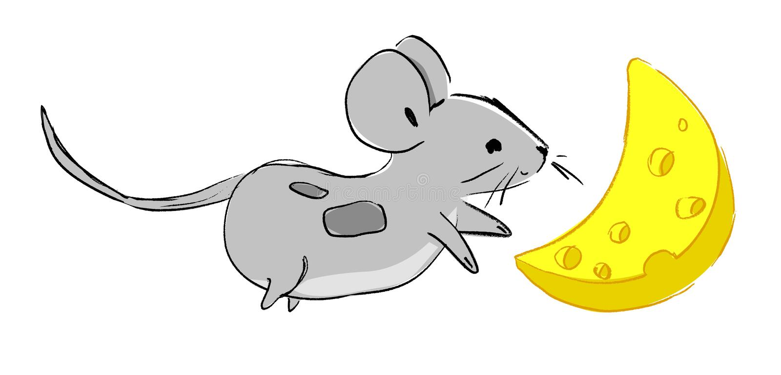 Hand drawn cute Mouse with cheese, cartoon character childish illustration. Rat Sketch. Vector royalty free illustration