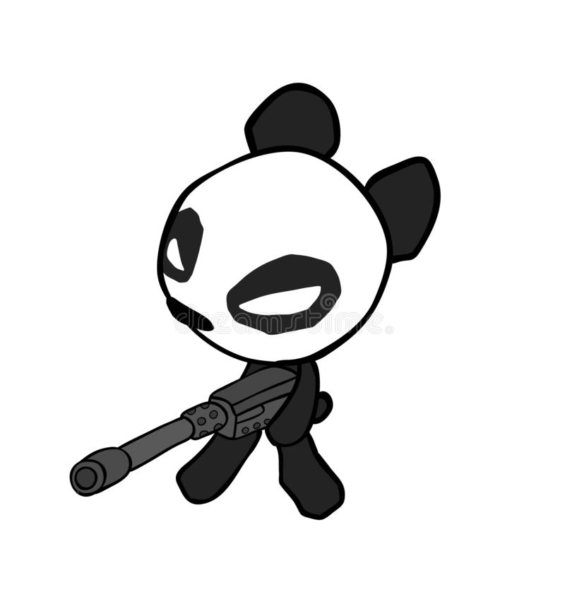 Hand drawn cute panda with machine gun isolated on white background royalty free stock photography