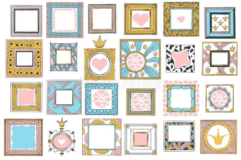 Hand drawn cute princess frames. Vintage color sketch frame, pink mirror border and doodle frames vector set royalty free illustration