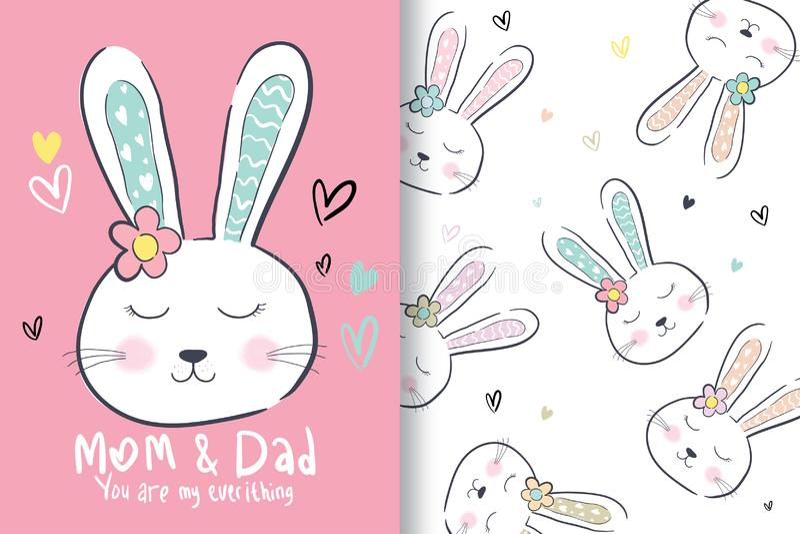 Hand drawn cute rabbit head, with editable patterns vector illustration