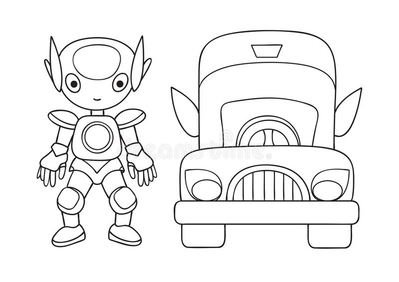 Hand drawn cute robot with car for design element and coloring book page for both kids and adults. Vector illustration royalty free illustration