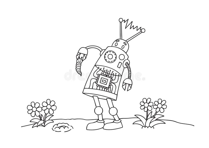 Hand drawn cute robot hold little worm for design element and coloring book page for both kids and adults. Vector illustration royalty free illustration