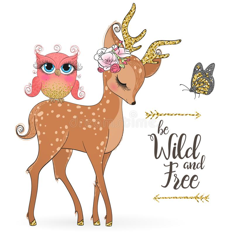 Hand drawn cute, romantic, dreaming, wild princess deer fawn with little owl. stock illustration