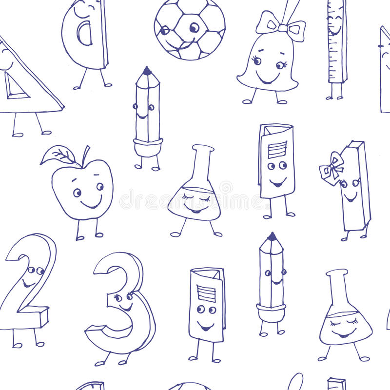 Free Hand Drawn Cute School Characters On A Sheet Of Exercise Book. S Royalty Free Stock Image - 57030856
