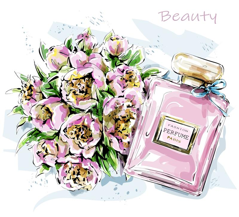 Free Hand Drawn Cute Set With Flowers And Perfume Bottle. Sketch. Royalty Free Stock Image - 150668426
