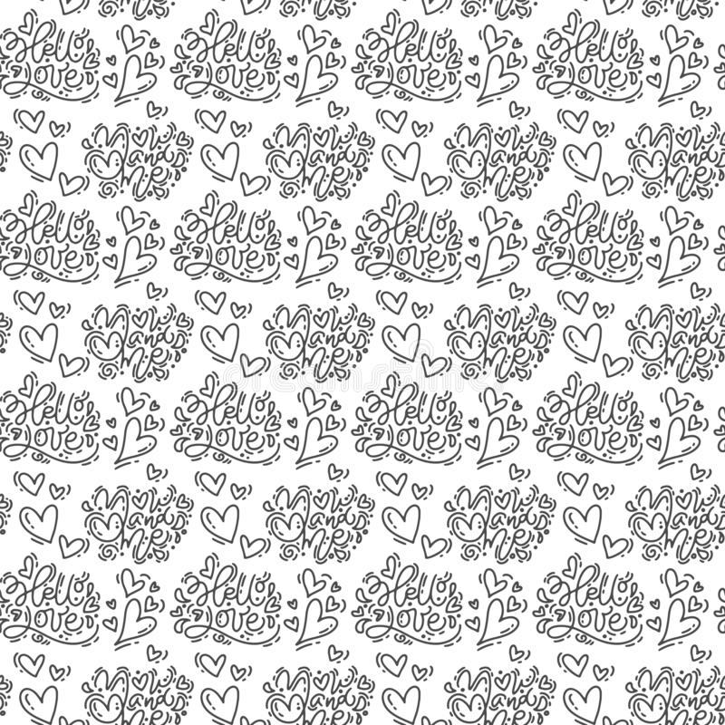 Hand drawn cute Valentines Day heart flourish and Hello love text pattern background. Seamless Vector illustration for stock illustration