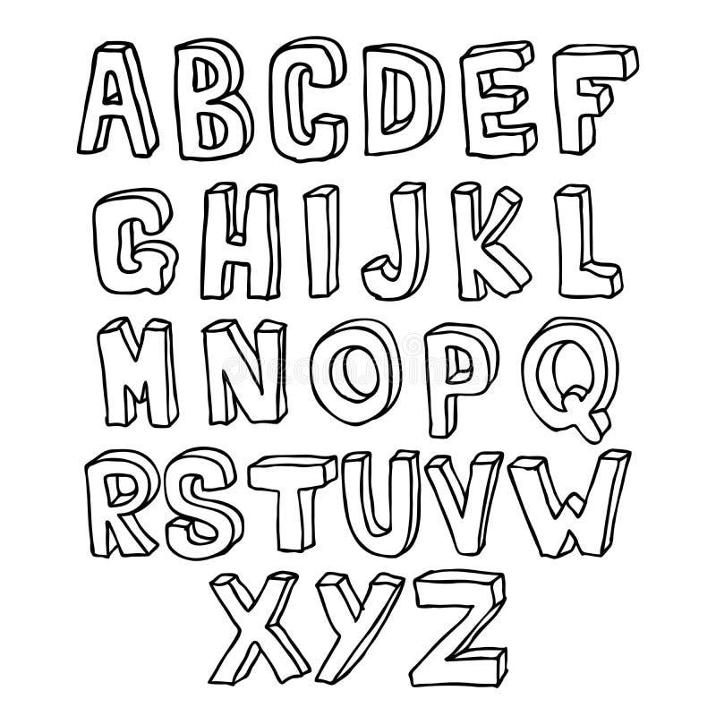 Hand drawn 3D alphabet royalty free illustration