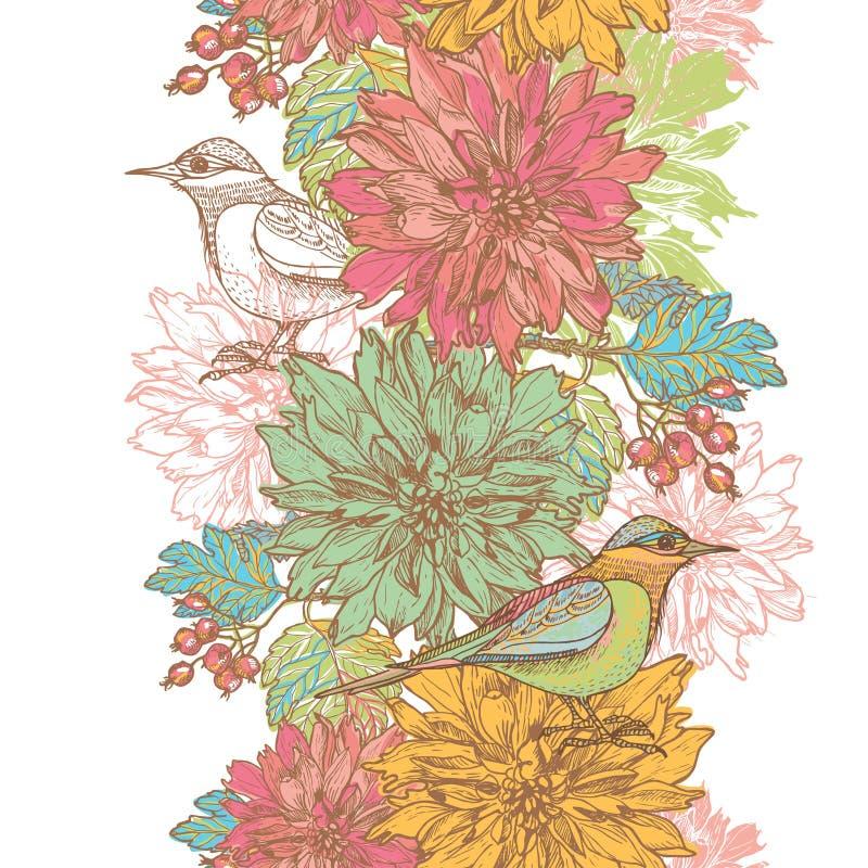 Hand drawn dahlia flowers and birds vertical seamless border stock illustration