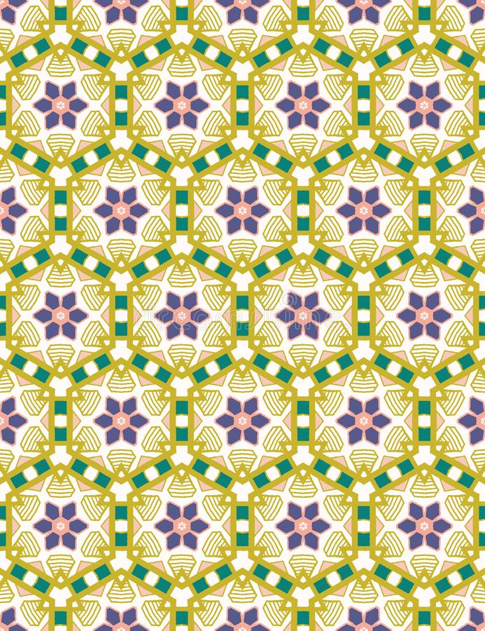 Hand drawn daisy flower mosaic quilt pattern. Vector seamless background. Symmetry geometric floral illustration. Trendy vector illustration