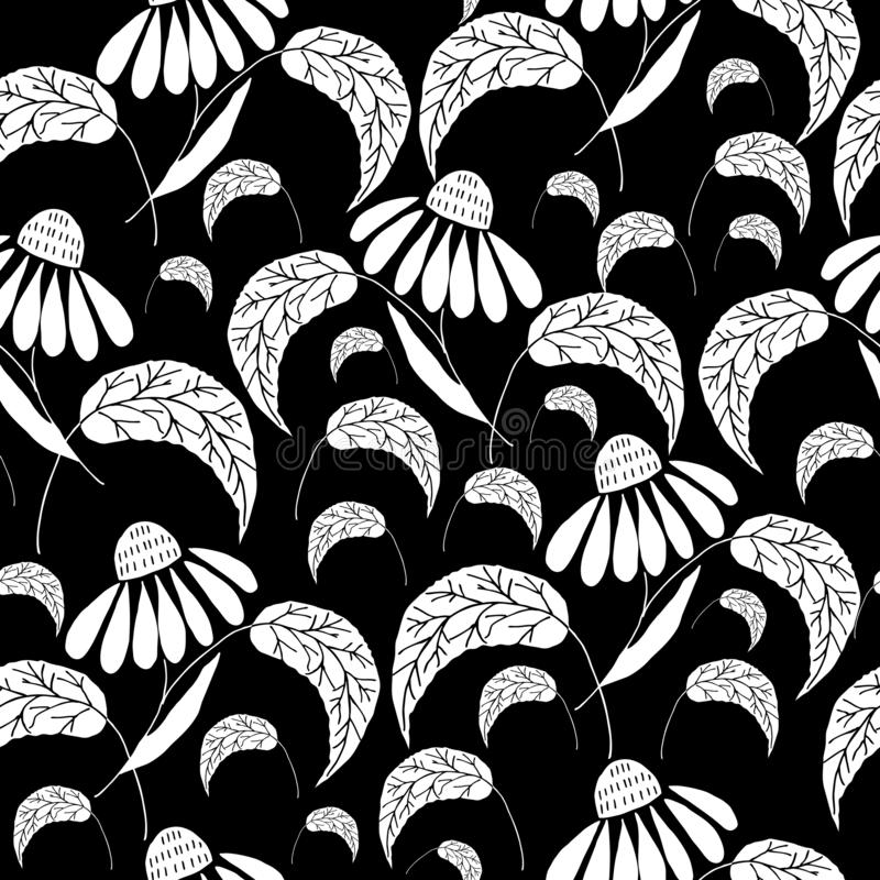 Hand drawn botanical repeat pattern. Hand drawn daisy flowers, black and white artwork on black background. Vector seamless repeat pattern. Sketch, doodle style vector illustration
