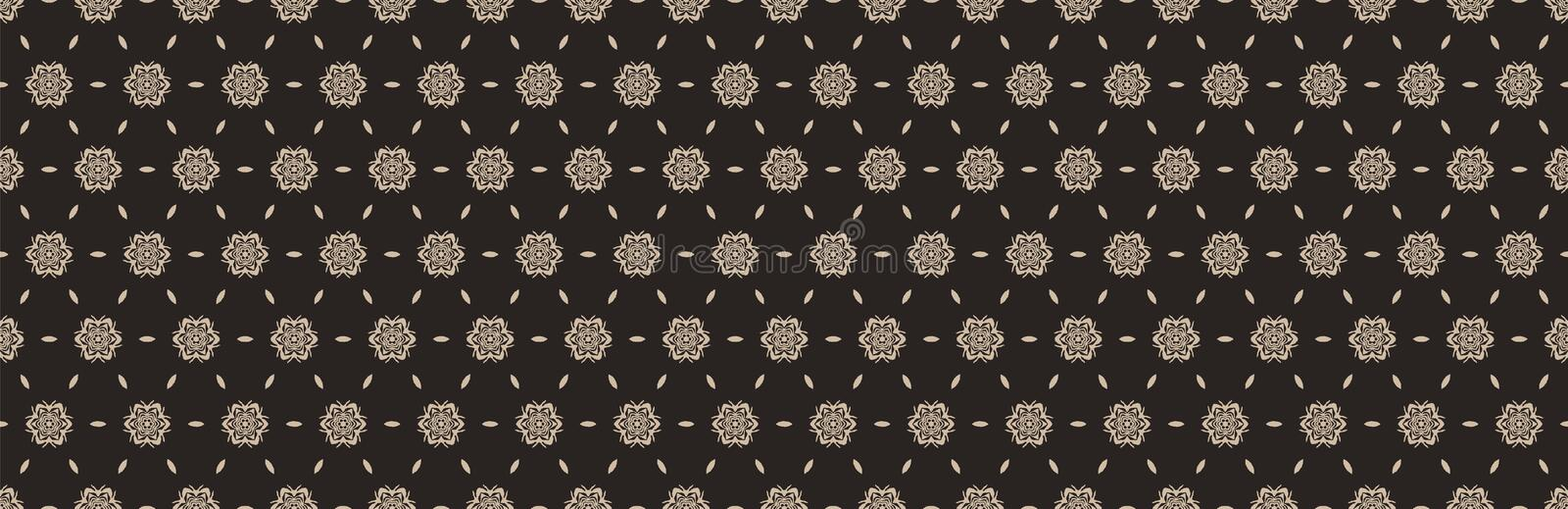 Hand drawn damask stripe seamless border pattern. Modern japanese edging medallion motif on dark homespun brown. Ecru elegant vector illustration
