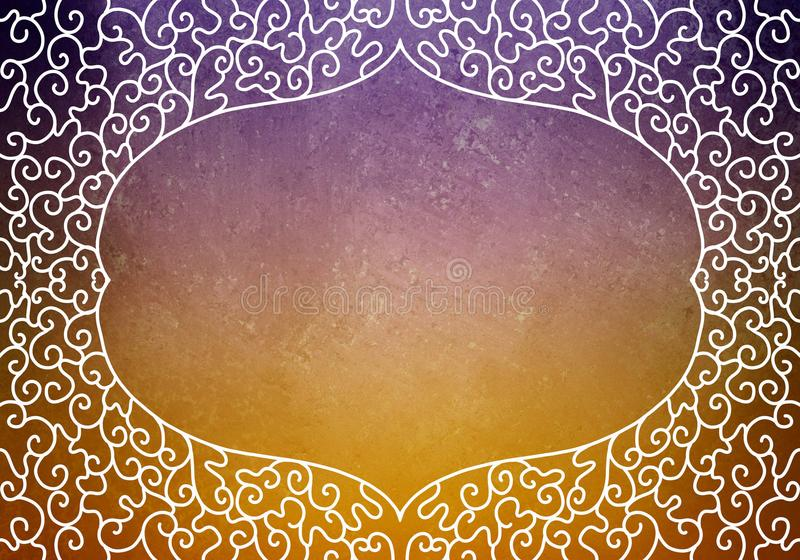 Hand Drawn Decorated Lace Curl Frame Design Border On Purple And ...