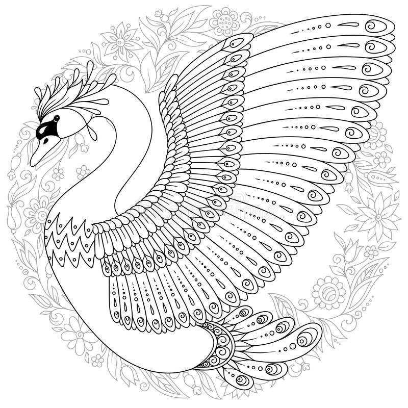 Mute Swan in a Pond Coloring page (With images) | Coloring pages ... | 800x800