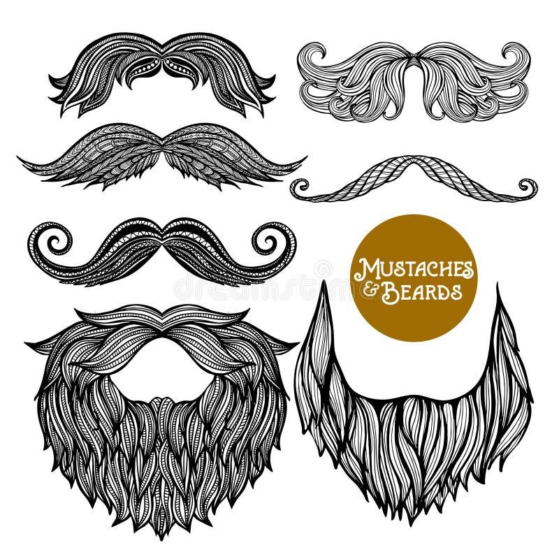 Hand Drawn Decorative Beard And Mustache Set royalty free illustration