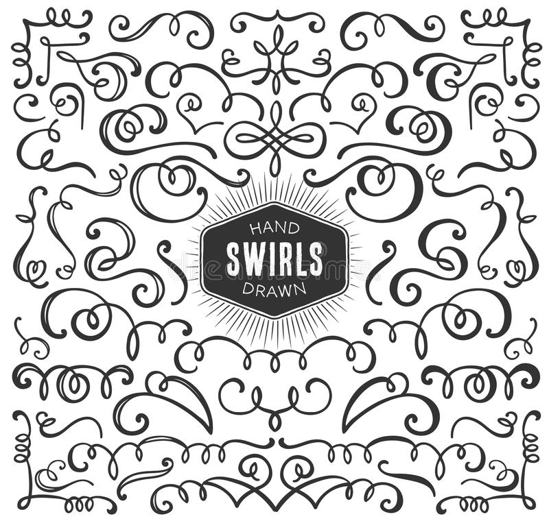 Hand Drawn Decorative Curls And Swirls Collection. Vintage ...