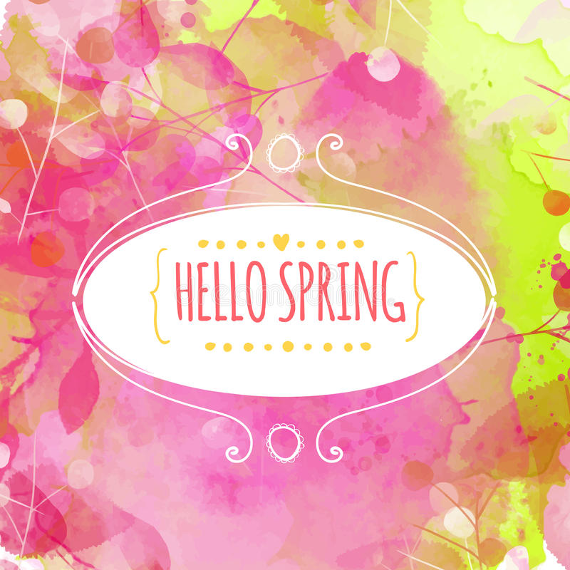 Hand drawn decorative ellipse frame with text hello spring. Fresh pink and green background with paint texture and leaves traces. vector illustration