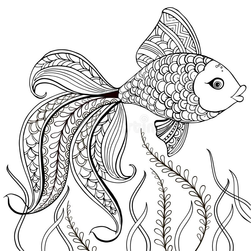 Hand drawn decorative fish for for the anti stress coloring page. Hand drawn black decorative fish isolated on white background.  royalty free illustration