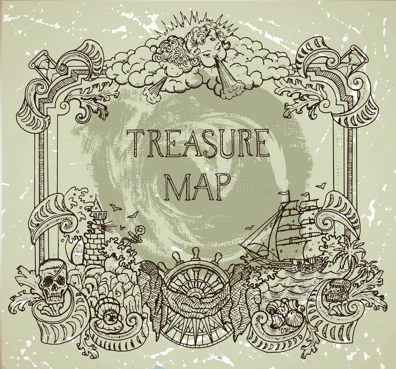 Free Hand Drawn Decorative Frame With Pirate Treasure Concept, Old Ships, Treasure Islands And Nautical Elements Stock Photo - 108856960