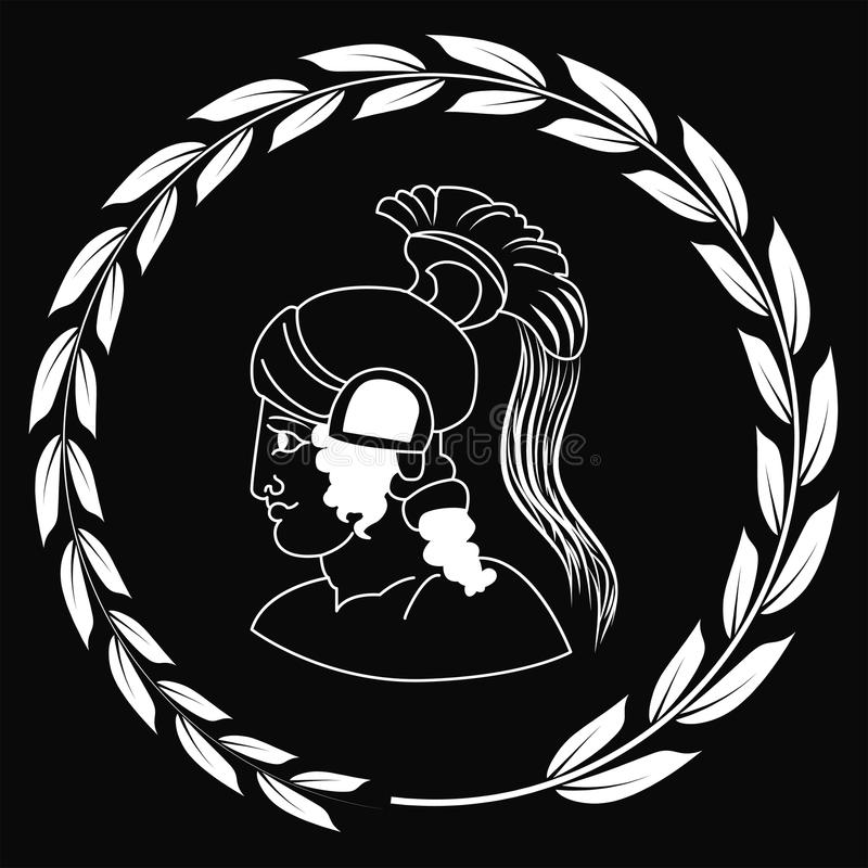 Hand drawn decorative logo with head of the ancient Greek warrior, negative. stock photography