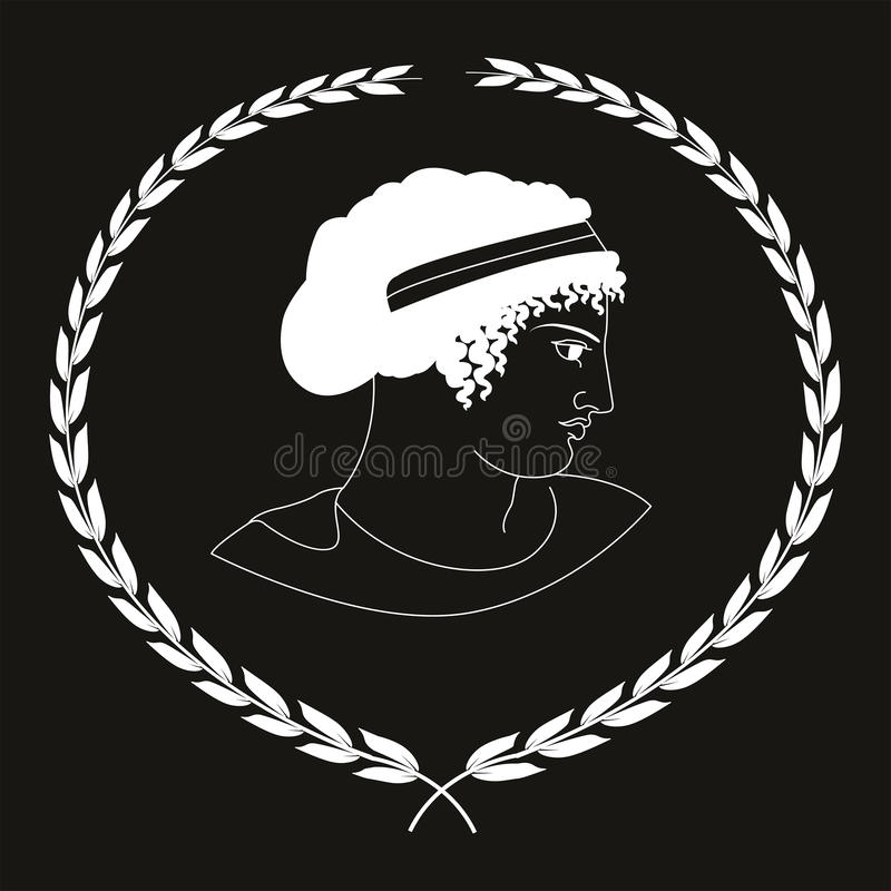 Hand drawn decorative logo with head of ancient Greek women, negative. stock image