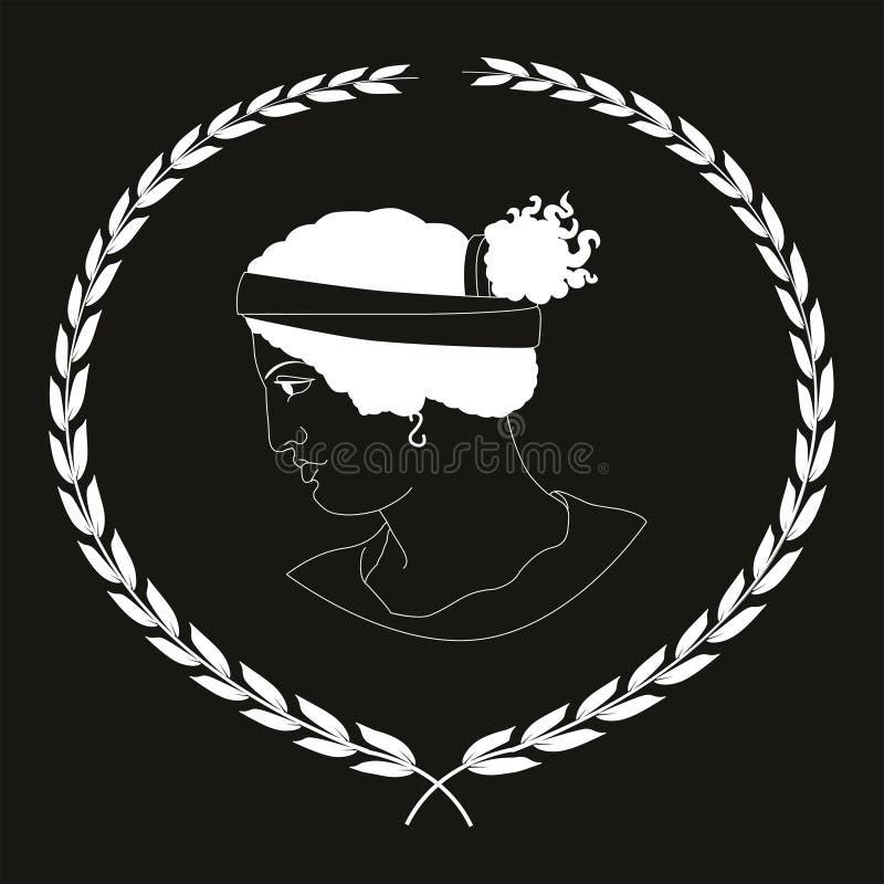 Hand drawn decorative logo with head of ancient Greek women, negative. stock photo