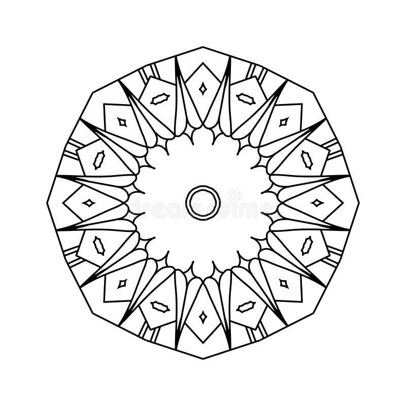 Hand-drawn decorative mandala illustration. Round black outline isolated on white background royalty free illustration