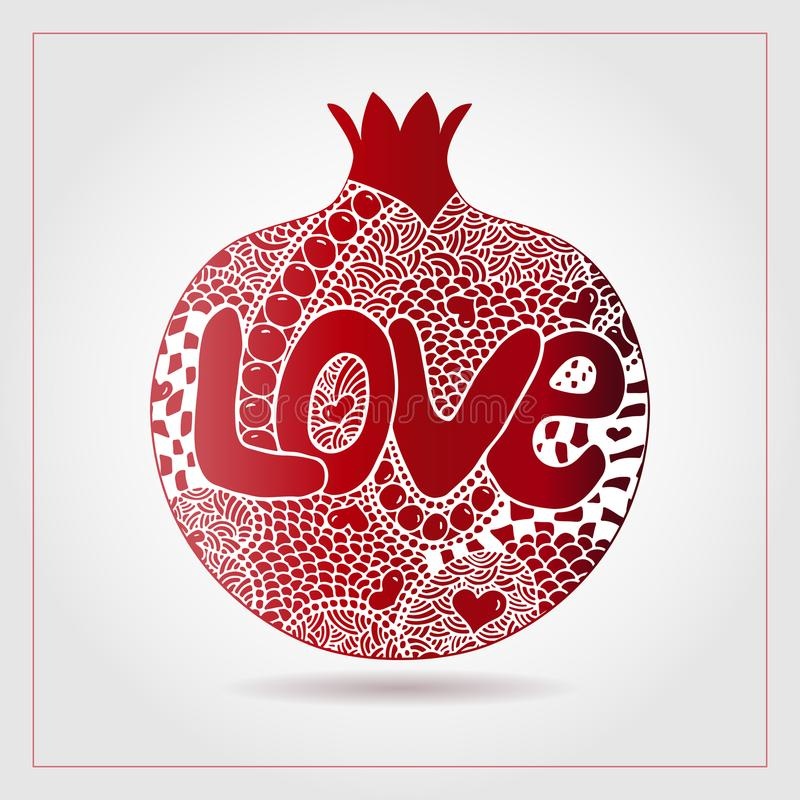 Hand drawn decorative ornamental pomegranate made of swirl doodles. Text love for Valentine day, 14 February. Vector abstract frui stock illustration