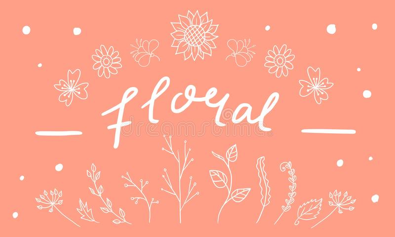 Hand drawn Decorative Plants and Flowers stock photography
