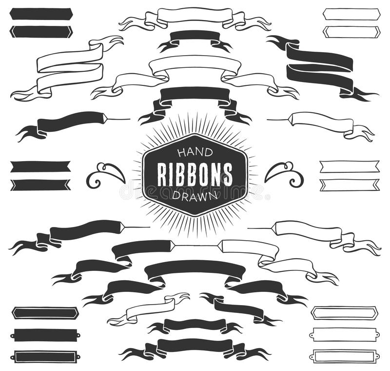 Hand drawn decorative ribbon banners. Vintage vector design vector illustration