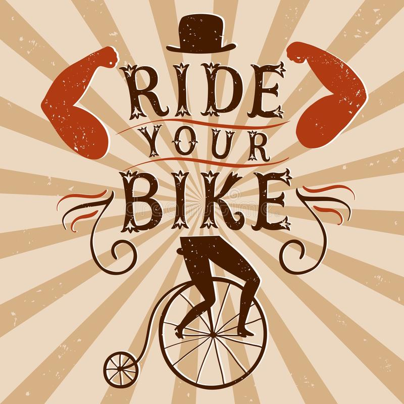 Hand drawn decorative textured vintage vector poster for bicycle stock illustration