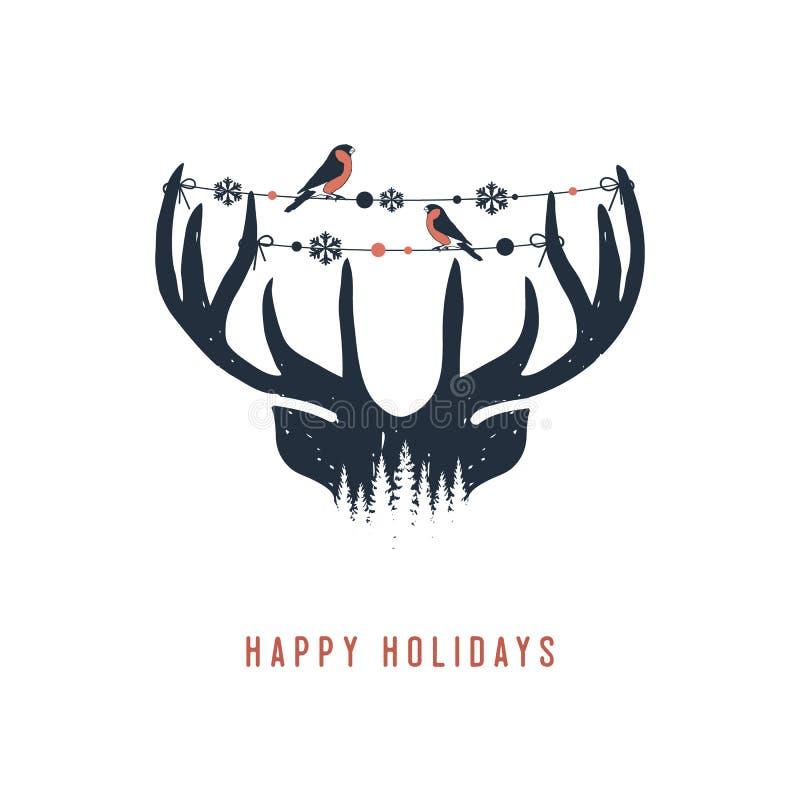 Hand drawn deer antlers vector illustration. royalty free illustration