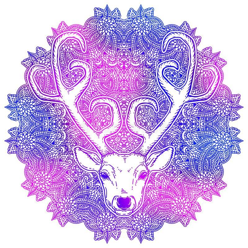 Hand drawn deer head tribal style vector illustration