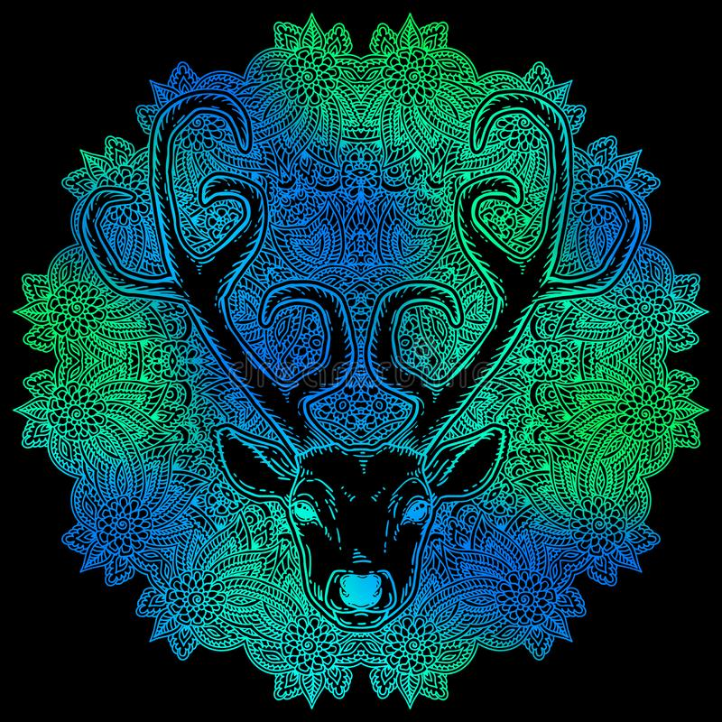 Hand drawn deer head tribal style stock illustration