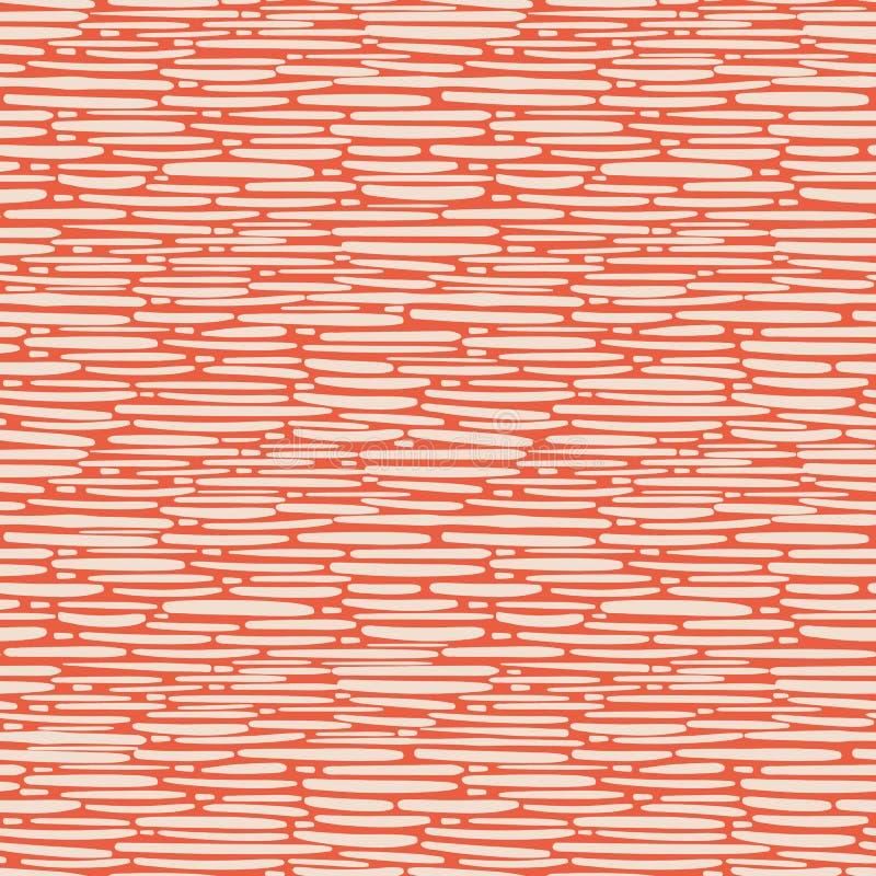 Hand drawn dense basket weave design in random geometric layout. Seamless vector pattern on orange background. Great for stock illustration