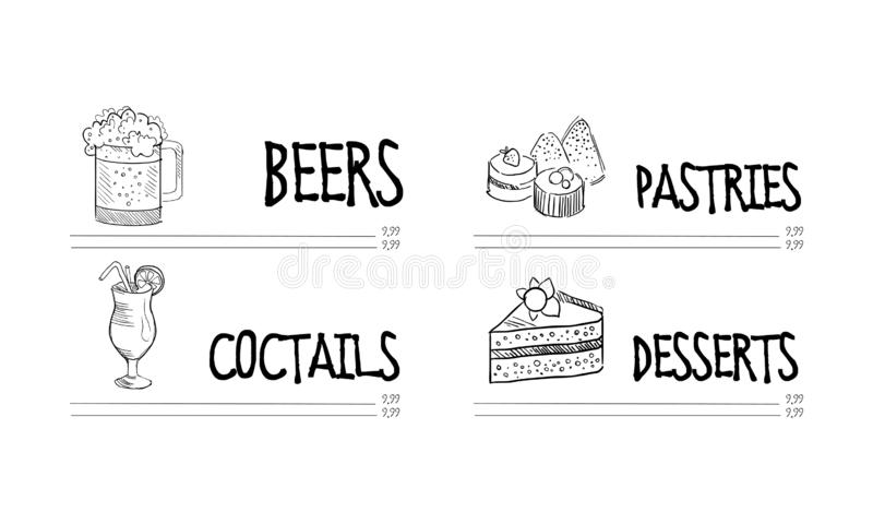 Hand drawn vector design of cafe or restaurant menu with mug of beer, glass of cocktail, pastries and desserts stock illustration