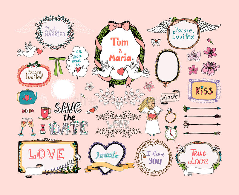 Hand Drawn Design Elements For Wedding Invitations Stock Vector